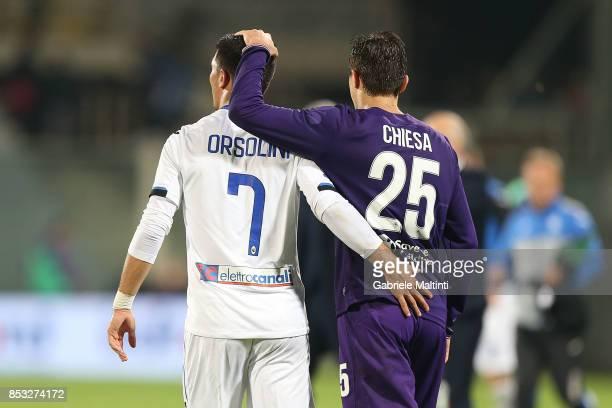 Federico Chiesa of ACF Fiorentina and Riccardo Orsolini of Atalanta BC during the Serie A match between FC Crotone and Benevento Calcio at Stadio...