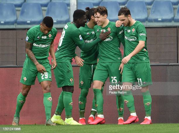 Federico Chiesa of ACF Fiorentina celebrate with team-mates after score penalty during the Serie A match between UC Sampdoria and ACF Fiorentina at...