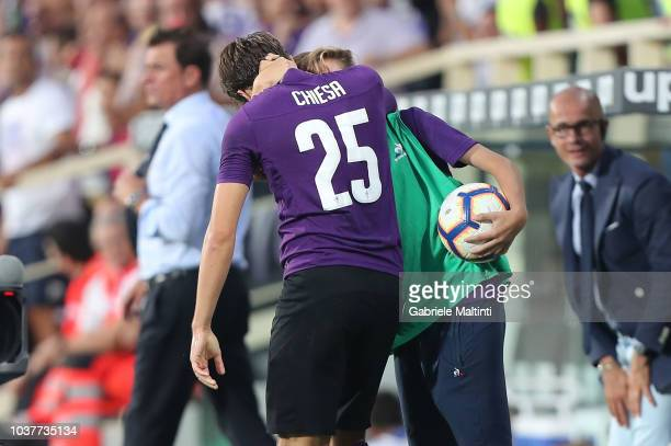 Federico Chiesa of ACF Fiorentina celebrates after scoring a goal wuth his brother during the Serie A match between ACF Fiorentina and SPAL at Stadio...