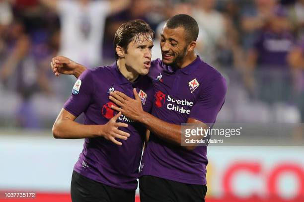 Federico Chiesa of ACF Fiorentina celebrates after scoring a goal during the Serie A match between ACF Fiorentina and SPAL at Stadio Artemio Franchi...