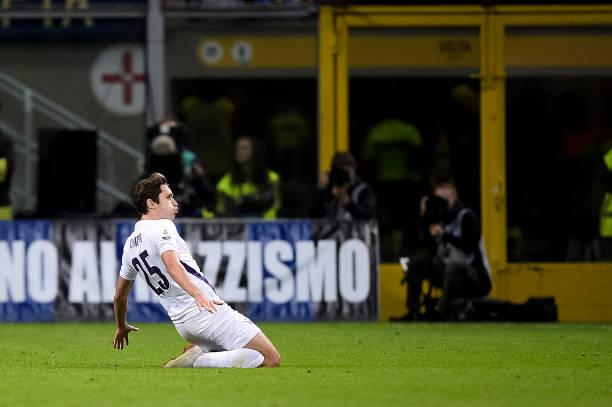 Federico Chiesa of ACF Fiorentina celebrates after scoring a...