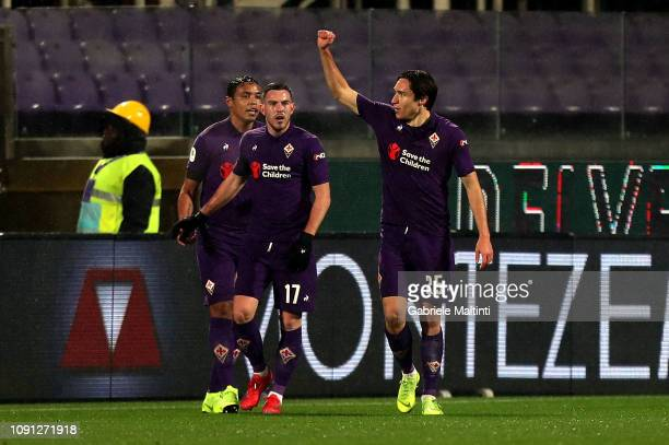 Federico Chiesa of ACF Fiorentina celebrates after scoring a goal during the Coppa Italia match between ACF Fiorentina and AS Roma at Stadio Artemio...