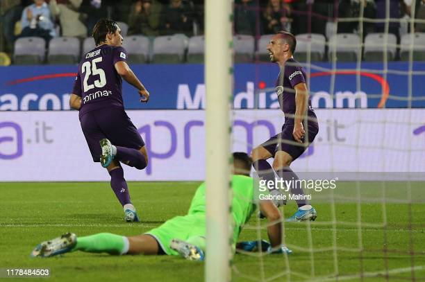 Federico Chiesa of ACF Fiorentina celebrates after scoring a goal during the Serie A match between ACF Fiorentina and SS Lazio at Stadio Artemio...