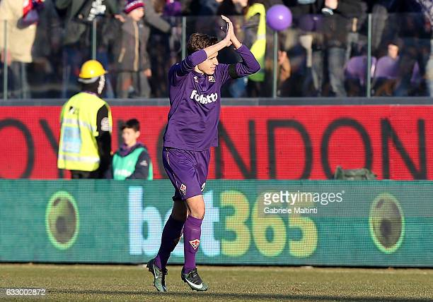 Federico Chiesa of ACF Fiorentina celebrates after scoring a goal during the Serie A match between ACF Fiorentina and Genoa CFC at Stadio Artemio...