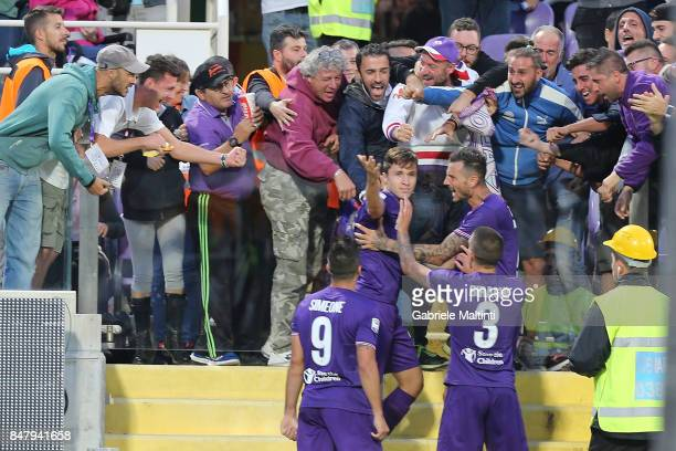 Federico Chiesa of ACF Fiorentina celebrates after scoring a goal during the Serie A match between ACF Fiorentina and Bologna FC at Stadio Artemio...