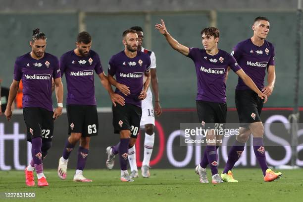 Federico Chiesa of ACF Fiorentina celebrates after scoring his second goal during the Serie A match between ACF Fiorentina and Bologna FC at Stadio...