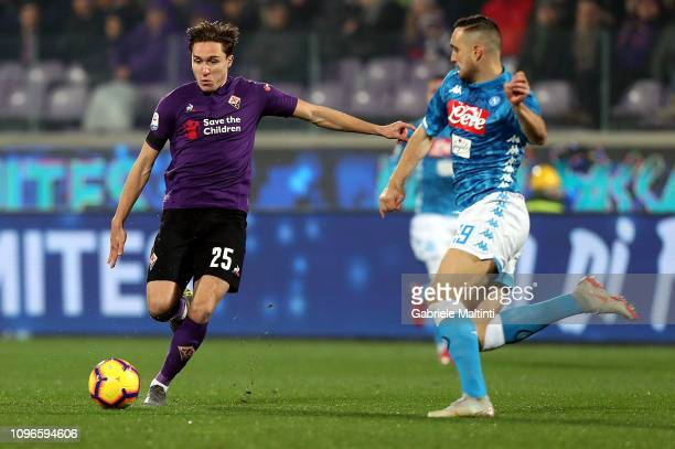 Federico Chiesa of ACF Fiorentina competes for the ball with Nikola Maksimovic during the Serie A match between ACF Fiorentina and SSC Napoli at...