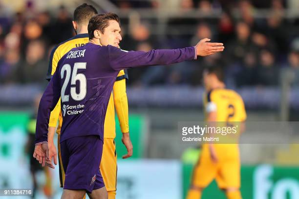 Federico Chiesa of ACF Fiorentina gestures during the serie A match between ACF Fiorentina and Hellas Verona FC at Stadio Artemio Franchi on January...