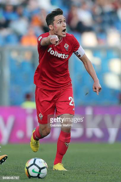Federico Chiesa of ACF Fiorentina gestures during the serie A match between US Sassuolo and ACF Fiorentina at Mapei Stadium Citta' del Tricolore on...