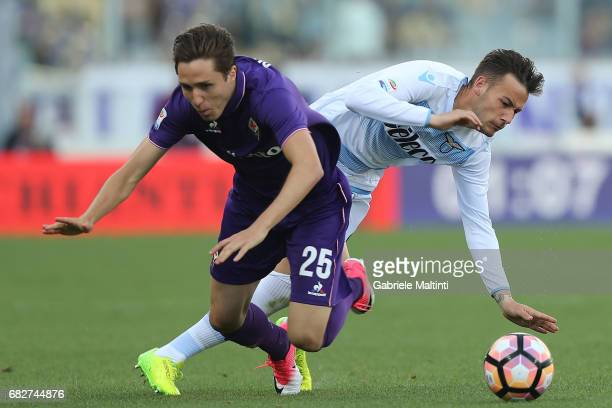 Federico Chiesa of ACF Fiorentina in action agaist Alessandro Murgia of SS Lazio during the Serie A match between ACF Fiorentina and SS Lazio at...