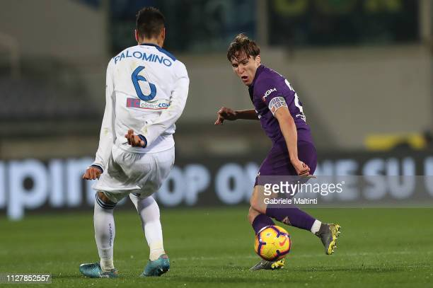 Federico Chiesa of ACF Fiorentina in action during the Coppa Italia match between ACF Fiorentina and Atalanta BC on February 27 2019 in Florence Italy