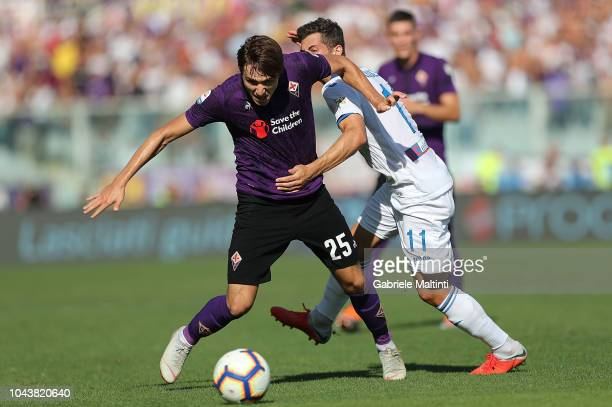 Federico Chiesa of ACF Fiorentina in action during the Serie A match between ACF Fiorentina and Atalanta BC at Stadio Artemio Franchi on September 30...