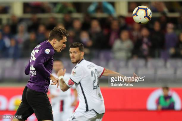 Federico Chiesa of ACF Fiorentina in action during the Serie A match between ACF Fiorentina and Cagliari at Stadio Artemio Franchi on October 21 2018...