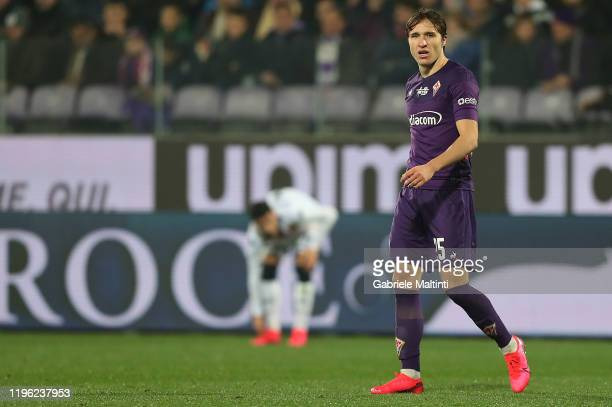 Federico Chiesa of ACF Fiorentina in action during the Serie A match between ACF Fiorentina and Genoa CFC at Stadio Artemio Franchi on January 25,...