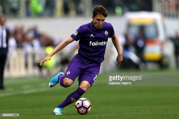 Federico Chiesa of ACF Fiorentina in action during the Serie A match between ACF Fiorentina and Empoli FC at Stadio Artemio Franchi on April 15 2017...