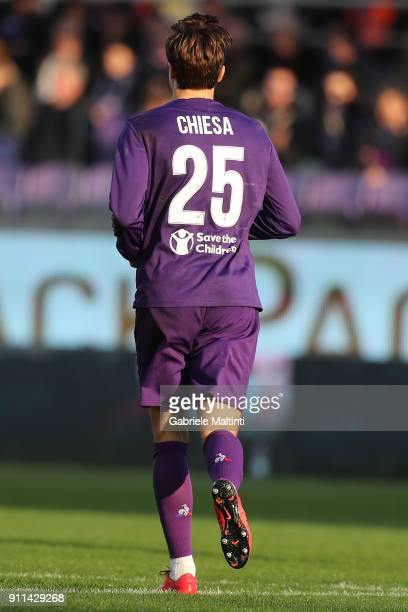 Federico Chiesa of ACF Fiorentina in action during the serie A match between ACF Fiorentina and Hellas Verona FC at Stadio Artemio Franchi on January...