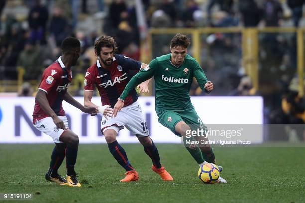 Federico Chiesa of ACF Fiorentina in action during the serie A match between Bologna FC and ACF Fiorentina at Stadio Renato Dall'Ara on February 4...