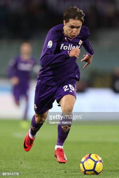 Federico Chiesa of ACF Fiorentina in action during the Tim Cup match between ACF Fiorentina and UC Sampdoria at Stadio Artemio Franchi on December 13...