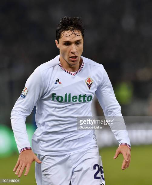 Federico Chiesa of ACF Fiorentina in action during the TIM Cup match between SS Lazio and ACF Fiorentina at Olimpico Stadium on December 26 2017 in...