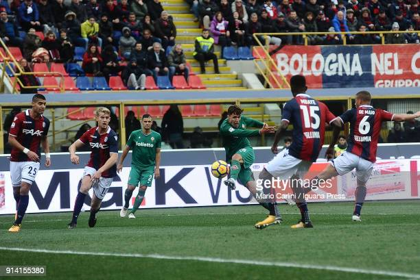 Federico Chiesa of ACF Fiorentina kikcs towards the goal during the serie A match between Bologna FC and ACF Fiorentina at Stadio Renato Dall'Ara on...