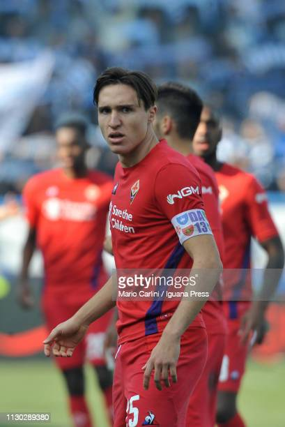 Federico Chiesa of ACF Fiorentina looks on during the Serie A match between SPAL and ACF Fiorentina at Stadio Paolo Mazza on February 17 2019 in...