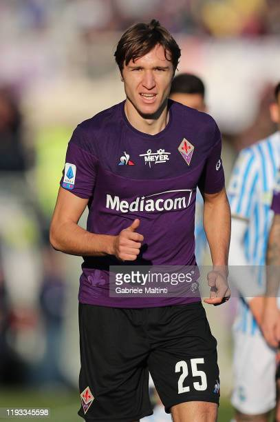 Federico Chiesa of ACF Fiorentina looks on during the Serie A match between ACF Fiorentina and SPAL at Stadio Artemio Franchi on January 12 2020 in...