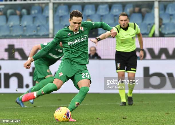 Federico Chiesa of ACF Fiorentina penalty for 03 during the Serie A match between UC Sampdoria and ACF Fiorentina at Stadio Luigi Ferraris on...