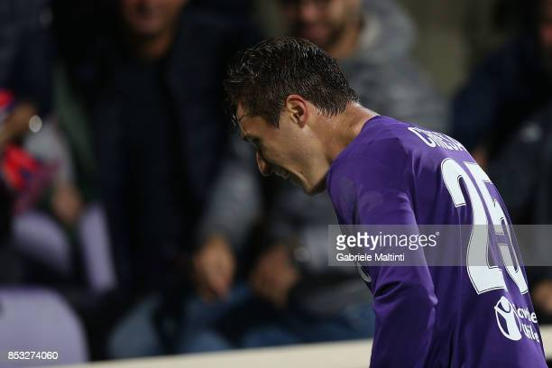 Federico Chiesa of ACF Fiorentina reacts during the Serie A match between FC Crotone and Benevento Calcio at Stadio Artemio Franchi on September 24...