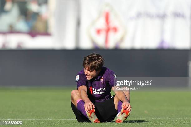 Federico Chiesa of ACF Fiorentina reacts during the Serie A match between ACF Fiorentina and Atalanta BC at Stadio Artemio Franchi on September 30...