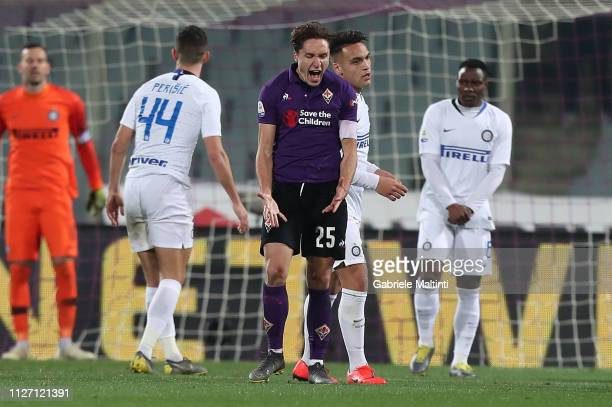 Federico Chiesa of ACF Fiorentina reacts during the Serie A match between ACF Fiorentina and FC Internazionale at Stadio Artemio Franchi on February...