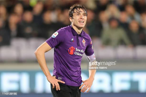 Federico Chiesa of ACF Fiorentina reacts during the Serie A match between ACF Fiorentina and AC Milan at Stadio Artemio Franchi on May 11 2019 in...