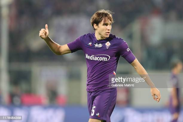 Federico Chiesa of ACF Fiorentina reacts during the Serie A match between ACF Fiorentina and SS Lazio at Stadio Artemio Franchi on October 27 2019 in...