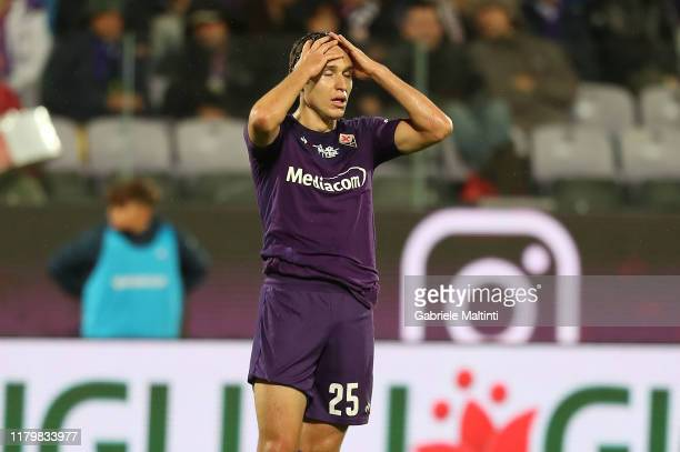 Federico Chiesa of ACF Fiorentina reacts during the Serie A match between ACF Fiorentina and Parma Calcio at Stadio Artemio Franchi on November 3,...