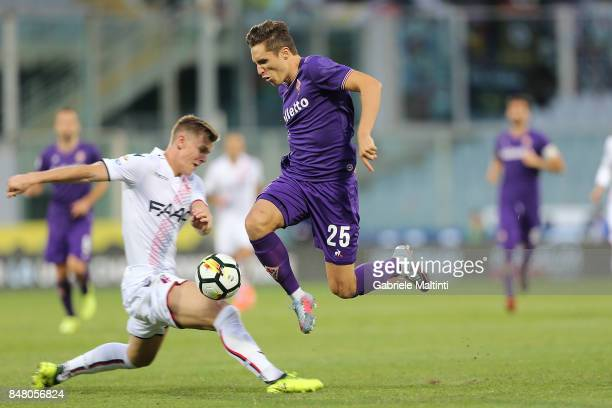 Federico Chiesa of ACF Fiorentina reacts during the Serie A match between ACF Fiorentina and Bologna FC at Stadio Artemio Franchi on September 16...