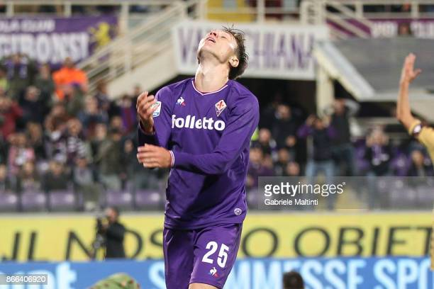 Federico Chiesa of ACF Fiorentina reacts during the Serie A match between ACF Fiorentina and Torino FC at Stadio Artemio Franchi on October 25 2017...