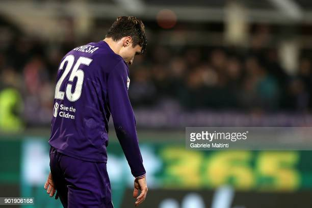 Federico Chiesa of ACF Fiorentina reacts during the serie A match between ACF Fiorentina and FC Internazionale at Stadio Artemio Franchi on January 5...