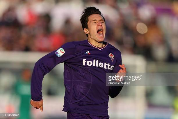 Federico Chiesa of ACF Fiorentina reacts during the serie A match between ACF Fiorentina and Hellas Verona FC at Stadio Artemio Franchi on January 28...