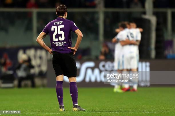 Federico Chiesa of ACF Fiorentina shows his dejection during the Serie A match between ACF Fiorentina and SS Lazio at Stadio Artemio Franchi on March...
