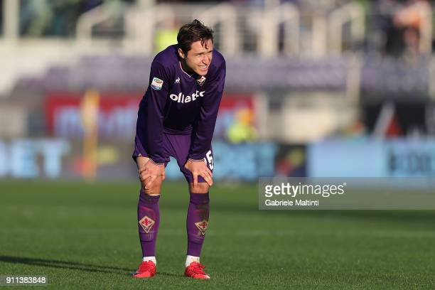 Federico Chiesa of ACF Fiorentina shows his dejection during the serie A match between ACF Fiorentina and Hellas Verona FC at Stadio Artemio Franchi...