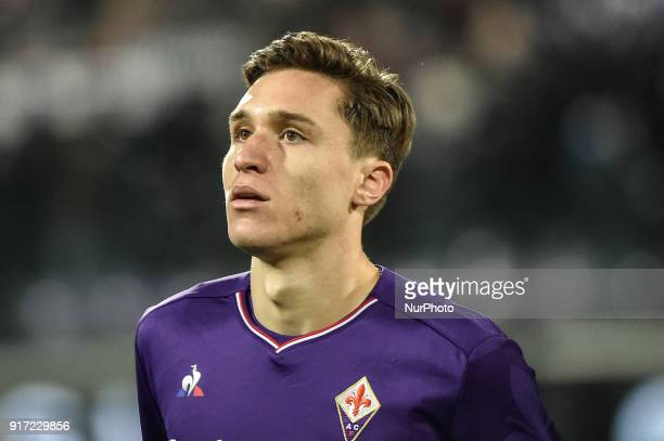 Federico Chiesa of Fiorentina during the Serie A match between Fiorentina and Juventus at Stadio Artemio Franchi Florence Italy on 9 February 2018