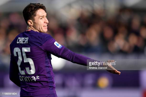 Federico Chiesa of Fiorentina reacts during the football match between ACF Fiorentina and Atalanta BC Atalanta BC won 21 over ACF Fiorentina