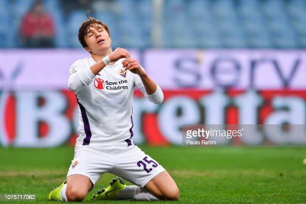 Federico Chiesa of Fiorentina reacts with disappointment after a missed chance during the Serie A match between Genoa CFC and ACF Fiorentina at...