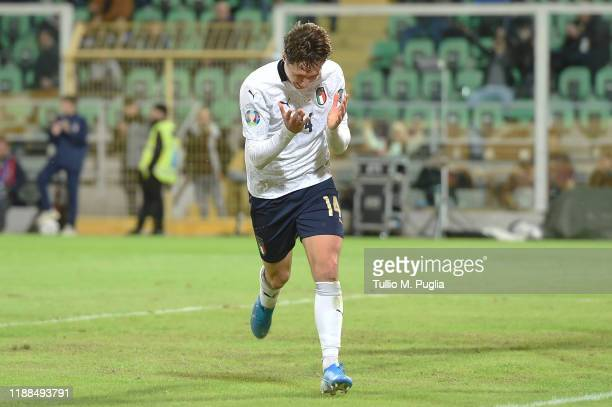 Federico Chiesa of Italy celebrates after scoring a goal during the UEFA Euro 2020 Qualifier between Italy and Armenia on November 18 2019 in Palermo...