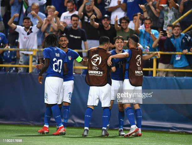 Federico Chiesa of Italy celebrates after scoring the first goal during the 2019 UEFA U21 Group A match between Italy and Spain at Renato Dall'Ara...