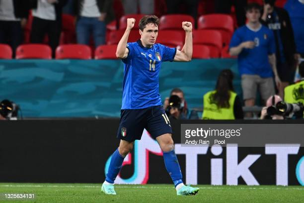 Federico Chiesa of Italy celebrates after scoring their side's first goal during the UEFA Euro 2020 Championship Round of 16 match between Italy and...
