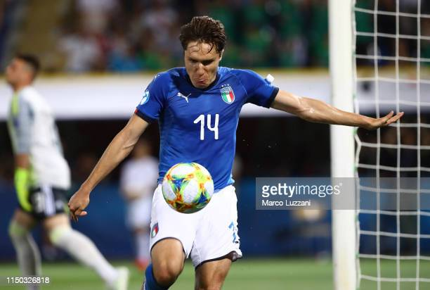Federico Chiesa of Italy celebrates his second goal during the 2019 UEFA U-21 Group A match between Italy and Spain at on June 16, 2019 in Bologna,...
