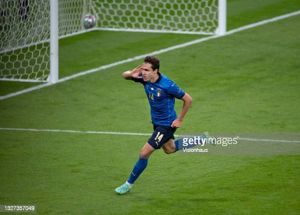 Federico Chiesa of Italy celebrates scoring during the UEFA Euro 2020 Championship Semi-final match between Italy and Spain at Wembley Stadium on...