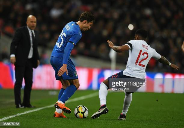 Federico Chiesa of Italy competes for the ball with Danny Rose of England during the International friendly football match between England and Italy...
