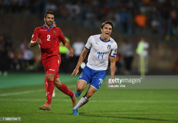 Federico Chiesa of Italy in action during the UEFA Euro 2020 qualifier between Armenia and Italy at Republican Stadium after Vazgen Sargsyan on...