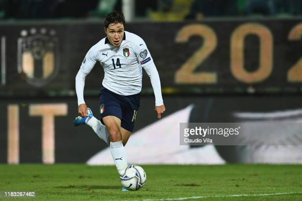 Federico Chiesa of Italy in action during the UEFA Euro 2020 Qualifier between Italy and Armenia on November 18 2019 in Palermo Italy